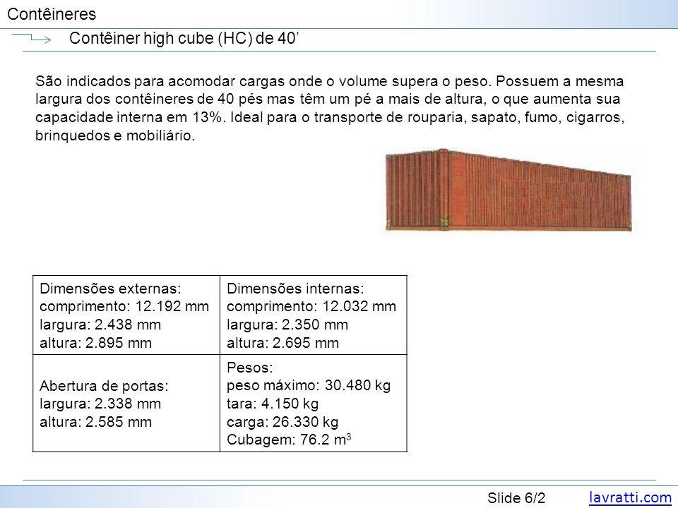 Contêiner high cube (HC) de 40'