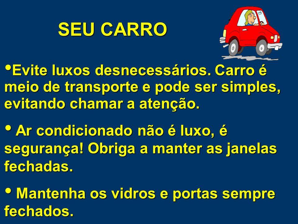 SEU CARRO Evite luxos desnecessários. Carro é meio de transporte e pode ser simples, evitando chamar a atenção.