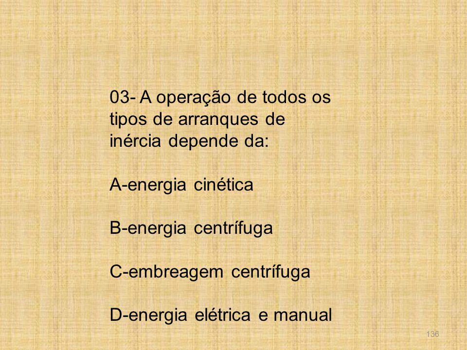 03- A operação de todos os tipos de arranques de inércia depende da: