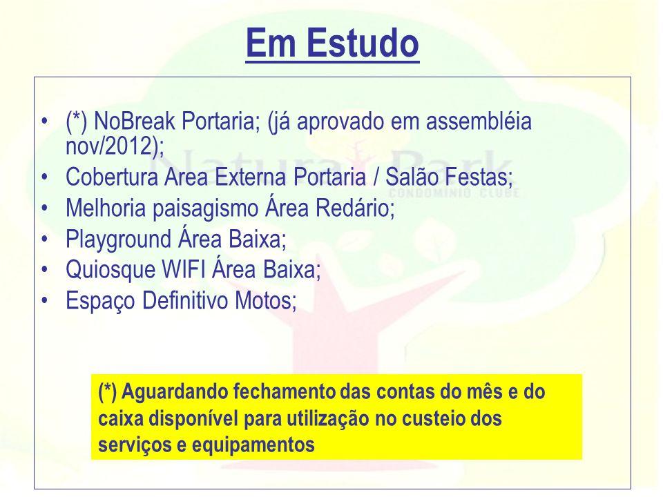 Em Estudo (*) NoBreak Portaria; (já aprovado em assembléia nov/2012);