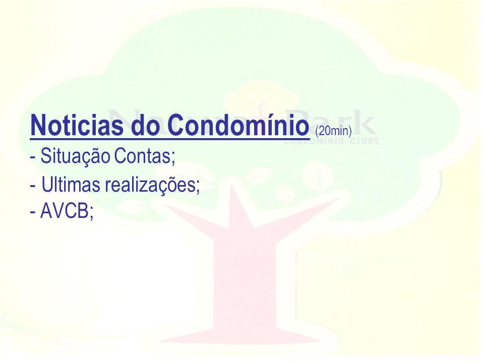 Noticias do Condomínio (20min) - Situação Contas; - Ultimas realizações; - AVCB;