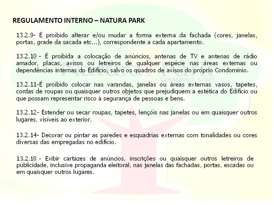 REGULAMENTO INTERNO – NATURA PARK
