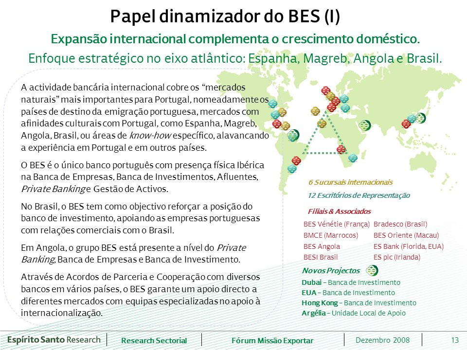 Papel dinamizador do BES (I) 12 Escritórios de Representação