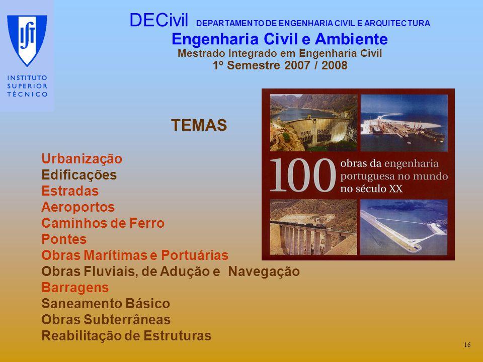 DECivil DEPARTAMENTO DE ENGENHARIA CIVIL E ARQUITECTURA Engenharia Civil e Ambiente Mestrado Integrado em Engenharia Civil 1º Semestre 2007 / 2008