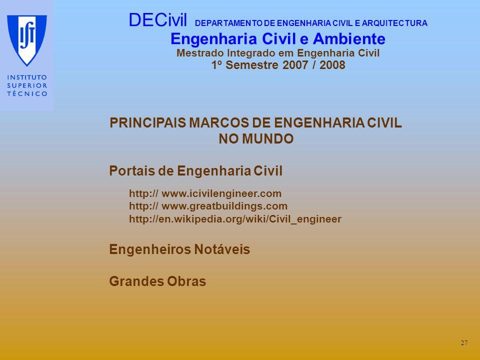 PRINCIPAIS MARCOS DE ENGENHARIA CIVIL