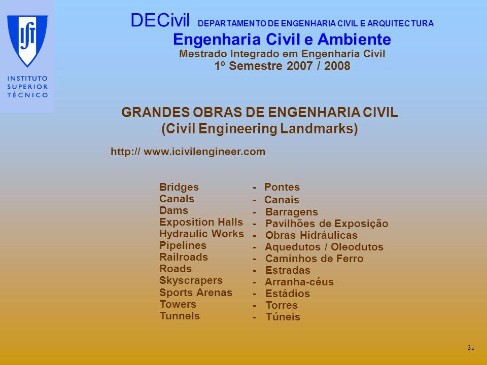 GRANDES OBRAS DE ENGENHARIA CIVIL (Civil Engineering Landmarks)