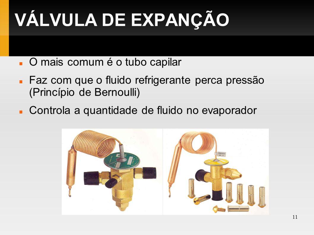 VÁLVULA DE EXPANÇÃO O mais comum é o tubo capilar