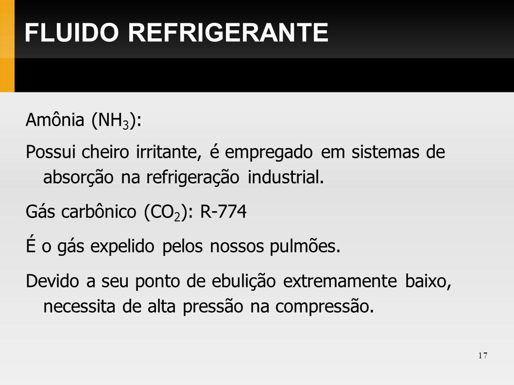 FLUIDO REFRIGERANTE Amônia (NH3):