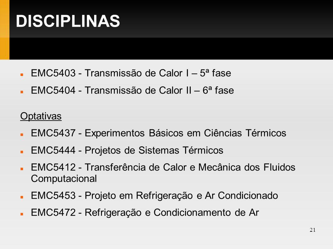 DISCIPLINAS EMC5403 - Transmissão de Calor I – 5ª fase
