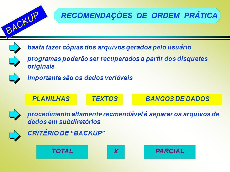 RECOMENDAÇÕES DE ORDEM PRÁTICA