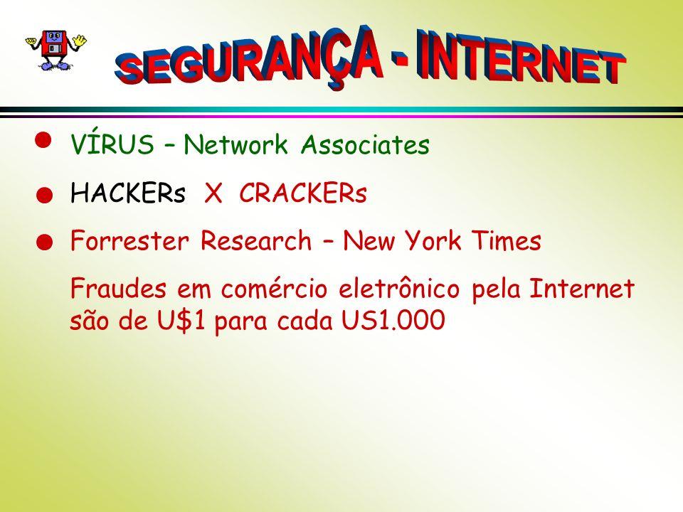 SEGURANÇA - INTERNET VÍRUS – Network Associates HACKERs X CRACKERs
