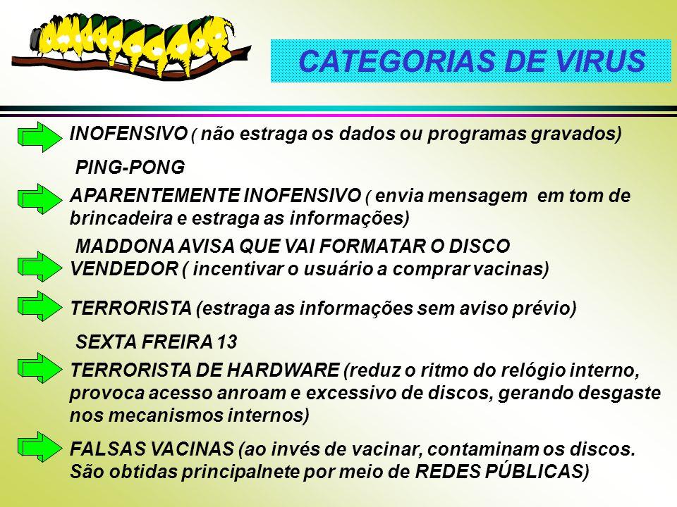 CATEGORIAS DE VIRUS VENDEDOR ( incentivar o usuário a comprar vacinas) INOFENSIVO ( não estraga os dados ou programas gravados)