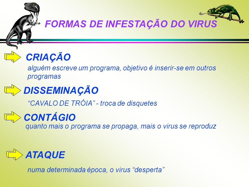 FORMAS DE INFESTAÇÃO DO VIRUS