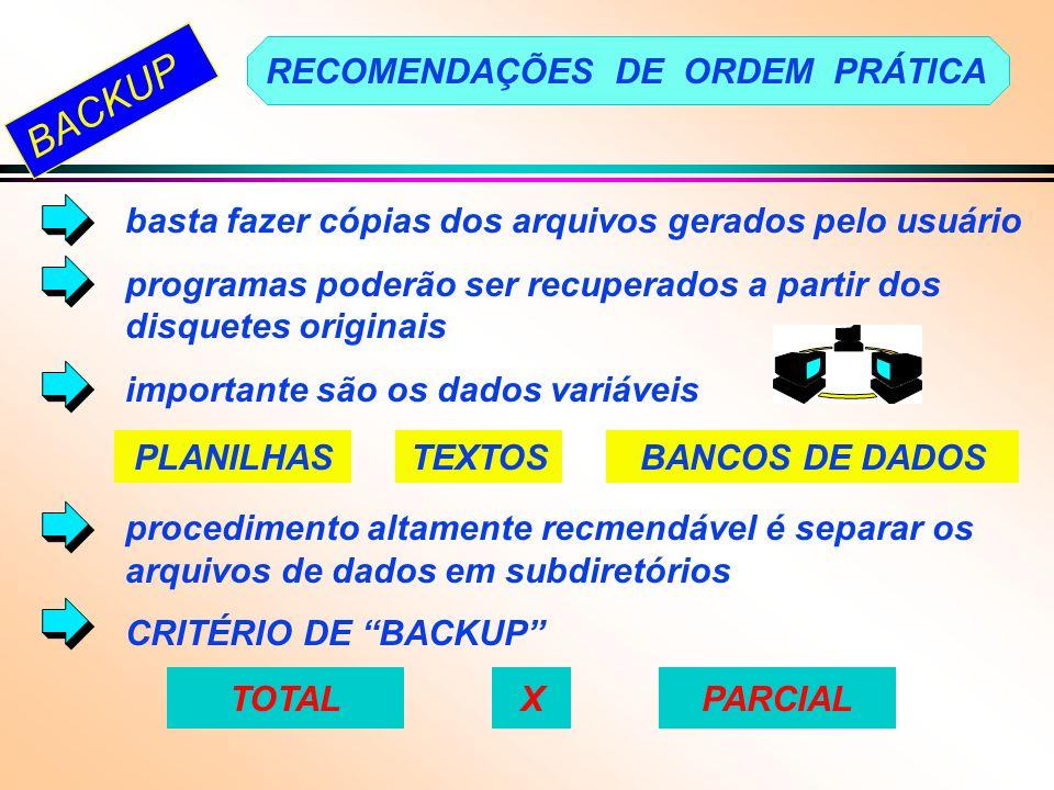 BACKUP RECOMENDAÇÕES DE ORDEM PRÁTICA