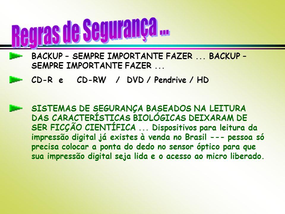 Regras de Segurança ... BACKUP – SEMPRE IMPORTANTE FAZER ... BACKUP – SEMPRE IMPORTANTE FAZER ... CD-R e CD-RW / DVD / Pendrive / HD.