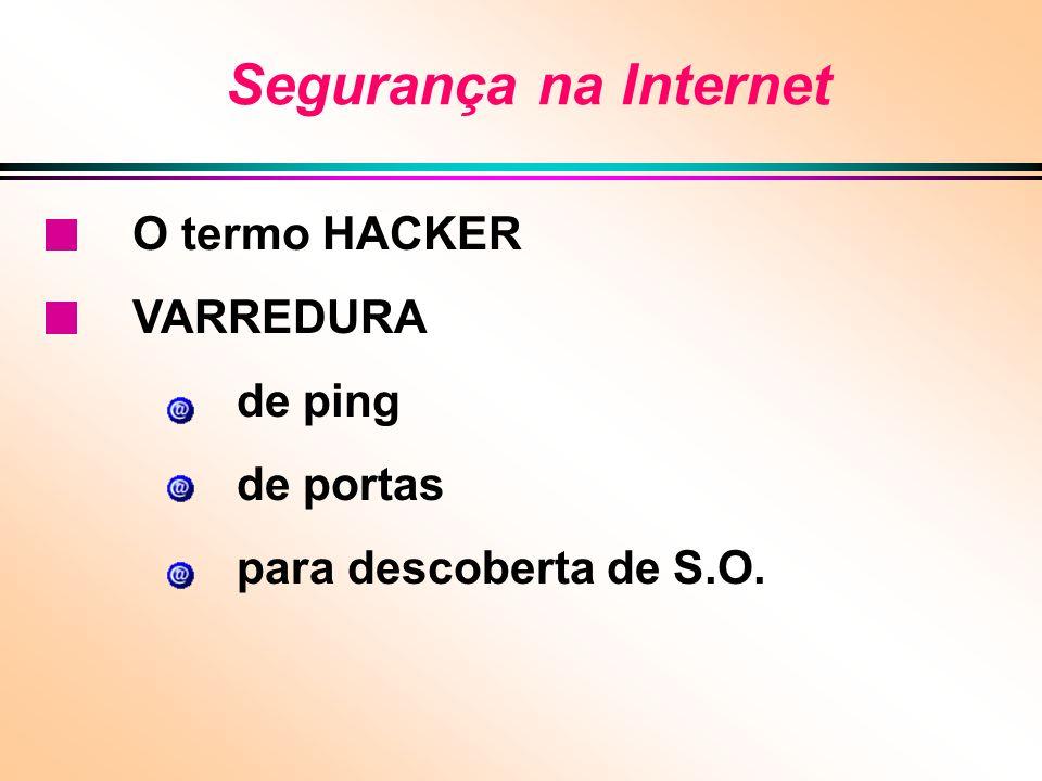 Segurança na Internet O termo HACKER VARREDURA de ping de portas