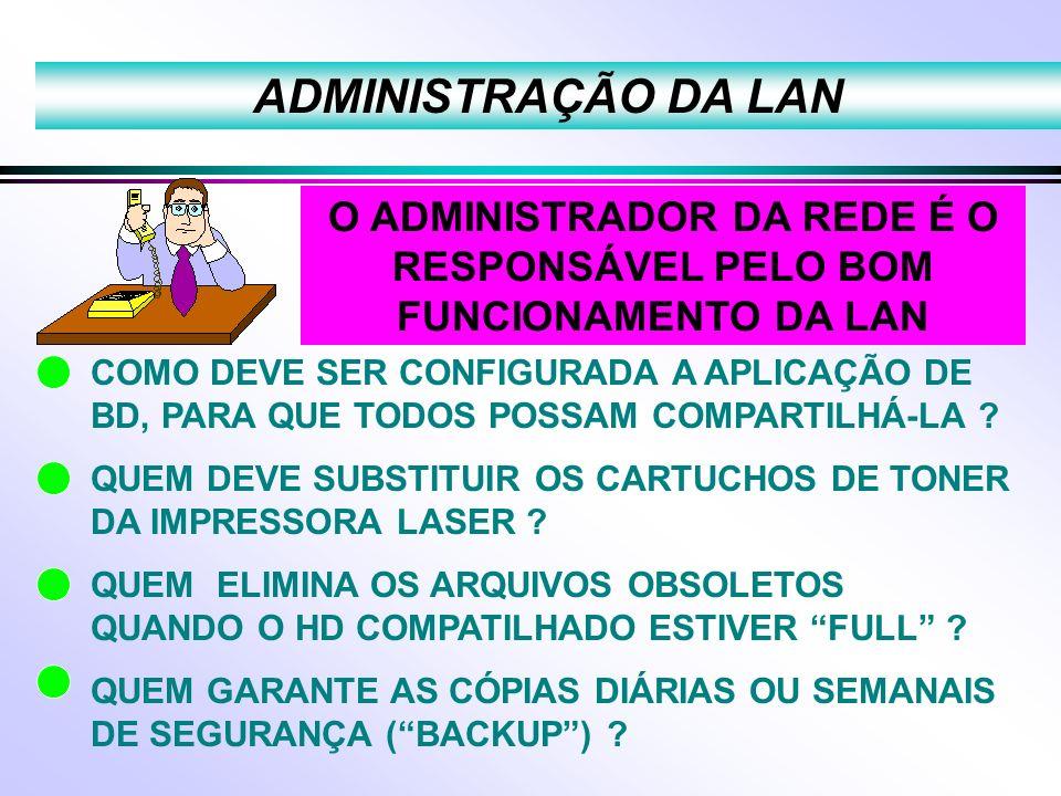 O ADMINISTRADOR DA REDE É O RESPONSÁVEL PELO BOM FUNCIONAMENTO DA LAN