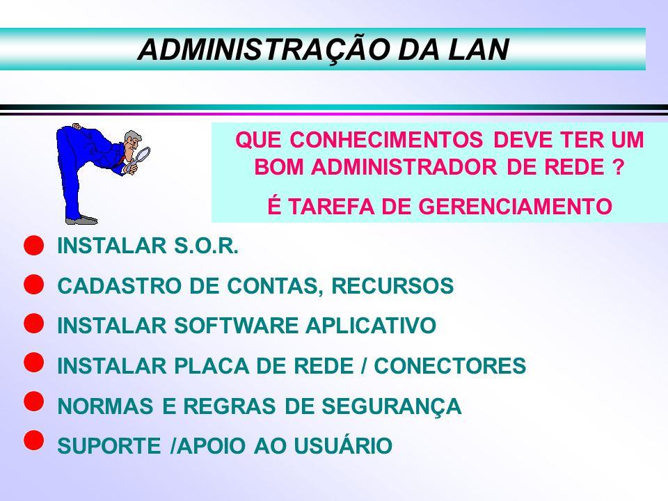 ADMINISTRAÇÃO DA LAN QUE CONHECIMENTOS DEVE TER UM BOM ADMINISTRADOR DE REDE É TAREFA DE GERENCIAMENTO.