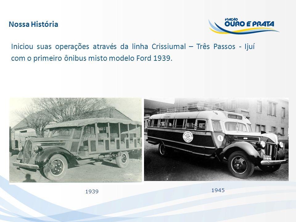 Nossa História Iniciou suas operações através da linha Crissiumal – Três Passos - Ijuí com o primeiro ônibus misto modelo Ford 1939.