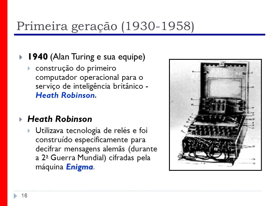 Primeira geração (1930-1958) 1940 (Alan Turing e sua equipe)