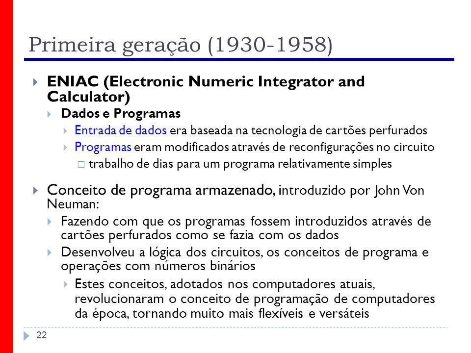 Primeira geração (1930-1958) ENIAC (Electronic Numeric Integrator and Calculator) Dados e Programas.
