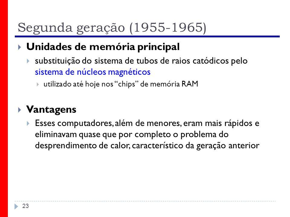 Segunda geração (1955-1965) Unidades de memória principal Vantagens