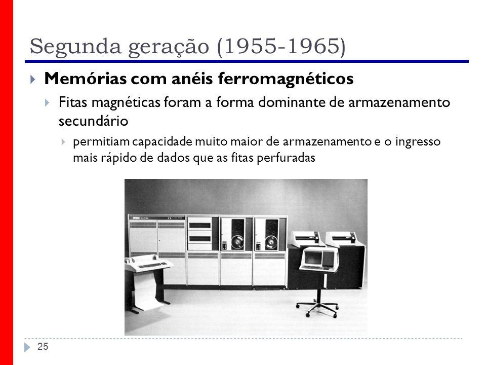 Segunda geração (1955-1965) Memórias com anéis ferromagnéticos