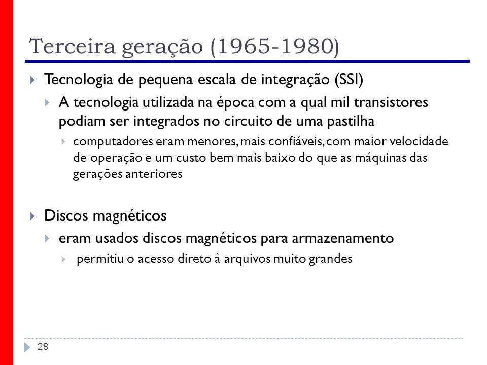 Terceira geração (1965-1980) Tecnologia de pequena escala de integração (SSI)