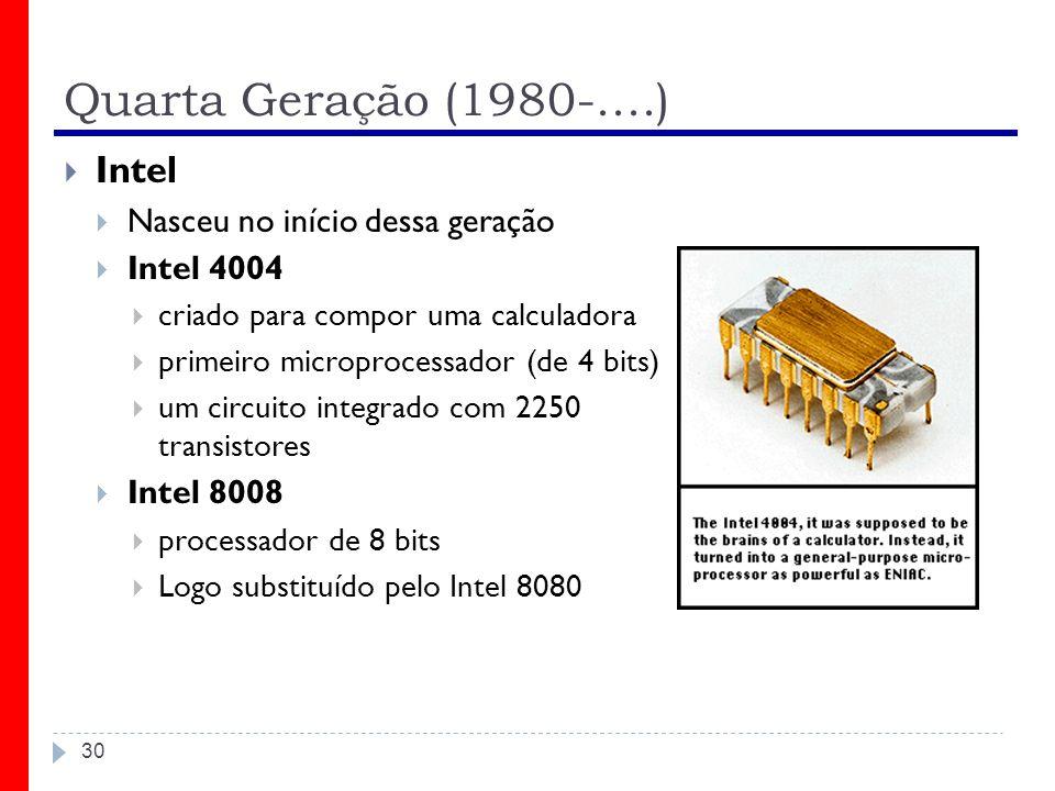 Quarta Geração (1980-....) Intel Nasceu no início dessa geração
