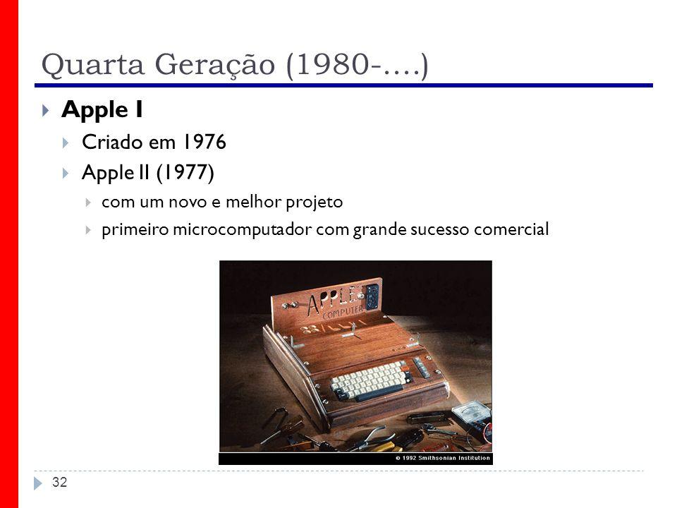 Quarta Geração (1980-....) Apple I Criado em 1976 Apple II (1977)