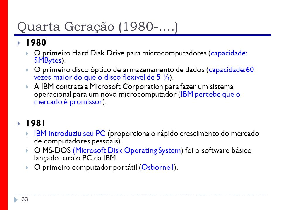 Quarta Geração (1980-....) 1980. O primeiro Hard Disk Drive para microcomputadores (capacidade: 5MBytes).