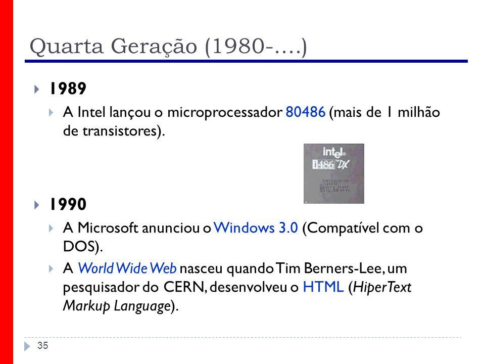 Quarta Geração (1980-....) 1989. A Intel lançou o microprocessador 80486 (mais de 1 milhão de transistores).