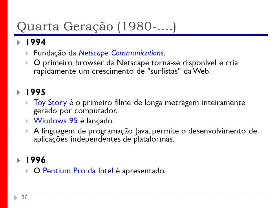 Quarta Geração (1980-....) 1994. Fundação da Netscape Communications.