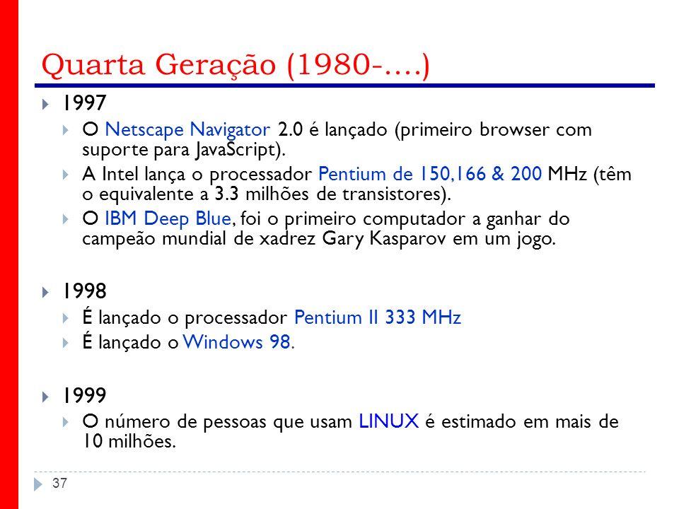 Quarta Geração (1980-....) 1997. O Netscape Navigator 2.0 é lançado (primeiro browser com suporte para JavaScript).