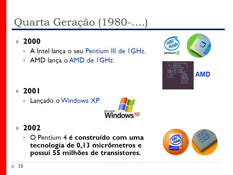 Quarta Geração (1980-....) 2000. A Intel lança o seu Pentium III de 1GHz. AMD lança o AMD de 1GHz.