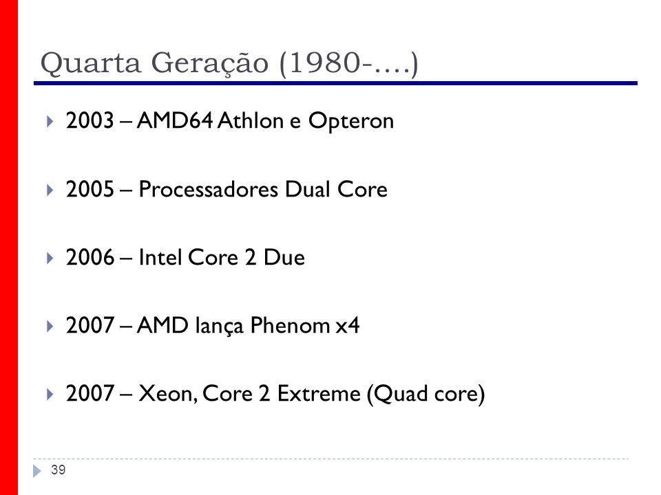 Quarta Geração (1980-....) 2003 – AMD64 Athlon e Opteron