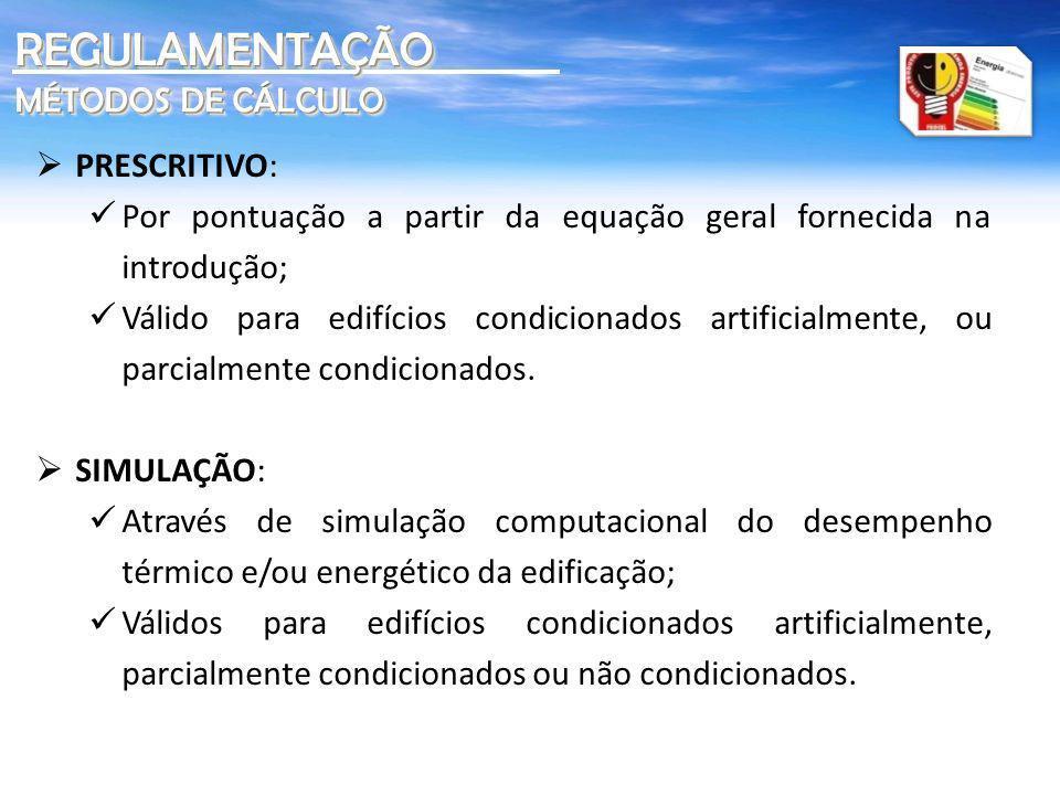 REGULAMENTAÇÃO MÉTODOS DE CÁLCULO PRESCRITIVO: