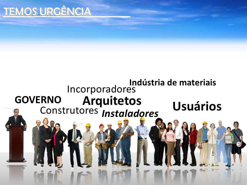 Arquitetos Usuários TEMOS URGÊNCIA Incorporadores GOVERNO Construtores