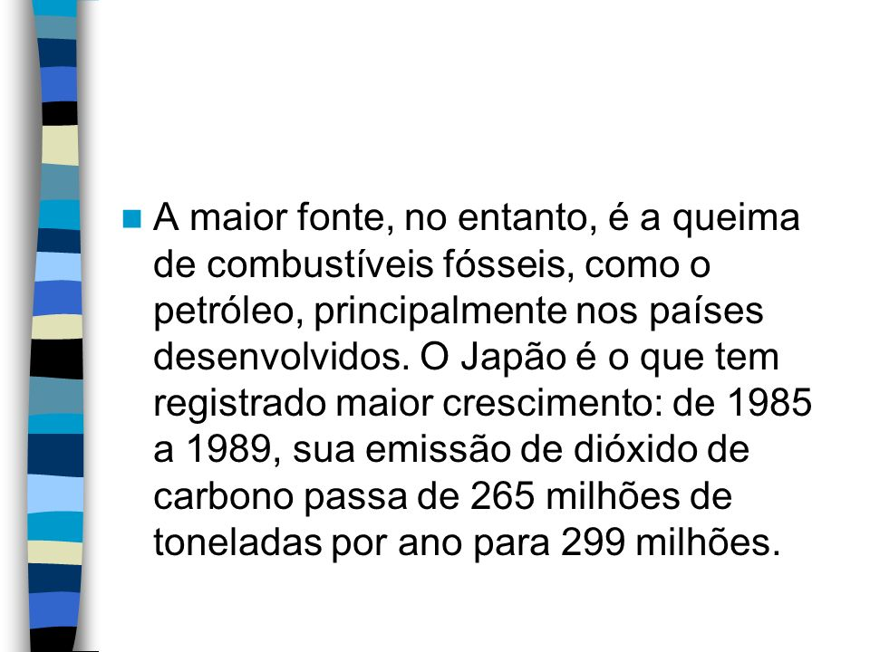 A maior fonte, no entanto, é a queima de combustíveis fósseis, como o petróleo, principalmente nos países desenvolvidos.