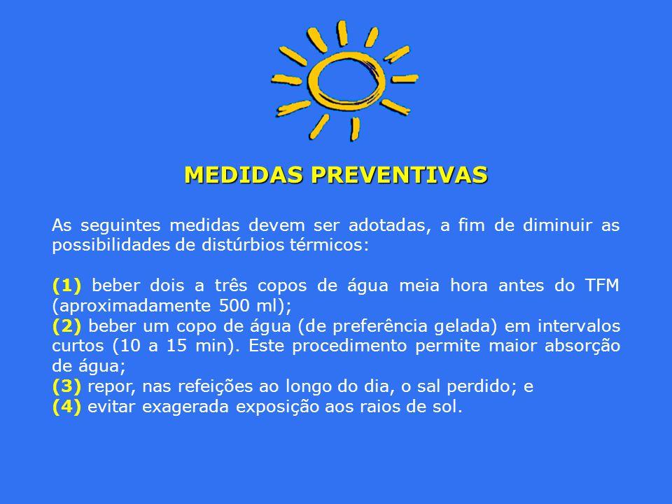 MEDIDAS PREVENTIVAS As seguintes medidas devem ser adotadas, a fim de diminuir as possibilidades de distúrbios térmicos: