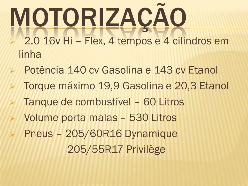 MOTORIZAÇÃO 2.0 16v Hi – Flex, 4 tempos e 4 cilindros em linha