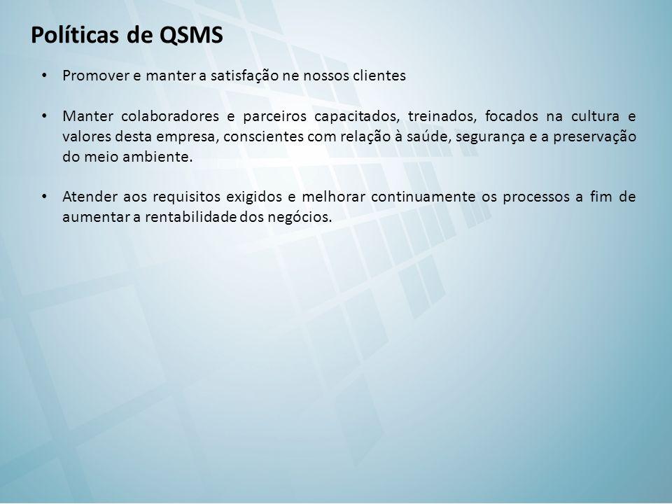 Políticas de QSMS Promover e manter a satisfação ne nossos clientes