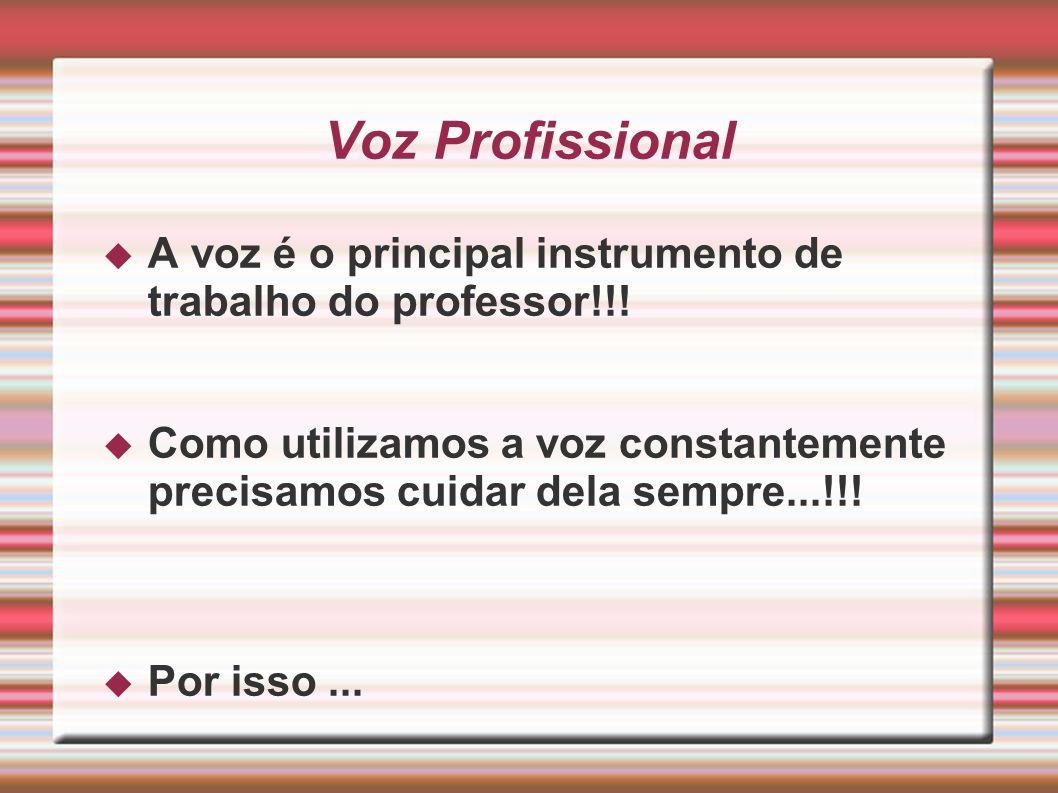 Voz Profissional A voz é o principal instrumento de trabalho do professor!!!