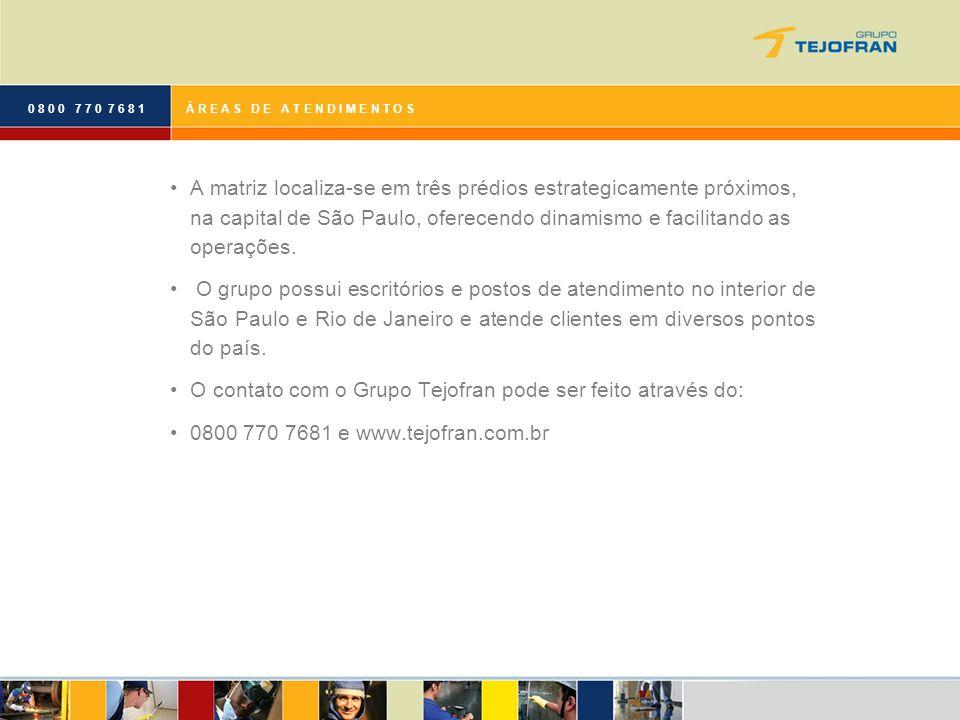 O contato com o Grupo Tejofran pode ser feito através do: