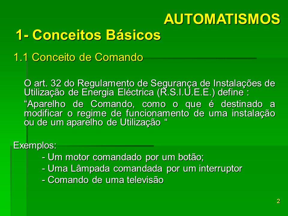 AUTOMATISMOS 1- Conceitos Básicos 1.1 Conceito de Comando
