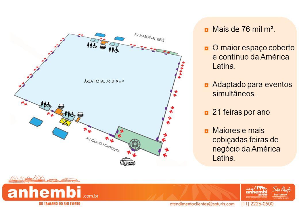 Mais de 76 mil m². O maior espaço coberto e contínuo da América Latina. Adaptado para eventos simultâneos.