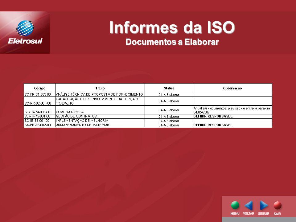 Informes da ISO Documentos a Elaborar