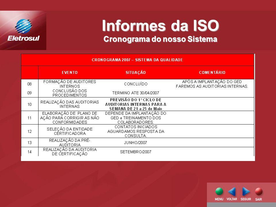 Informes da ISO Cronograma do nosso Sistema
