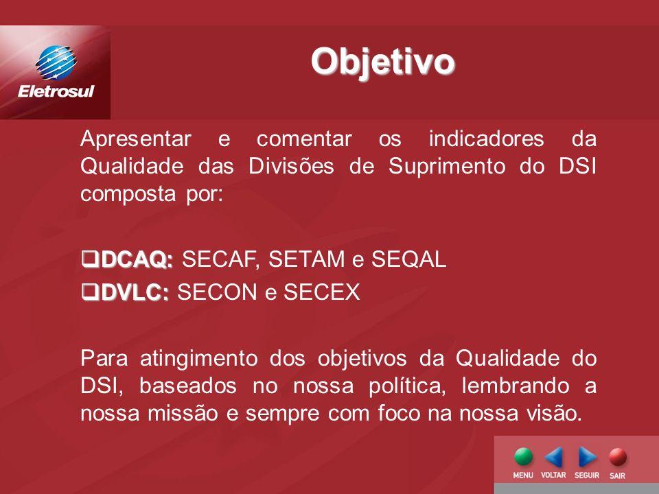 Objetivo Apresentar e comentar os indicadores da Qualidade das Divisões de Suprimento do DSI composta por: