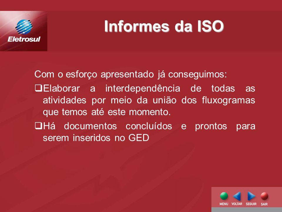 Informes da ISO Com o esforço apresentado já conseguimos: